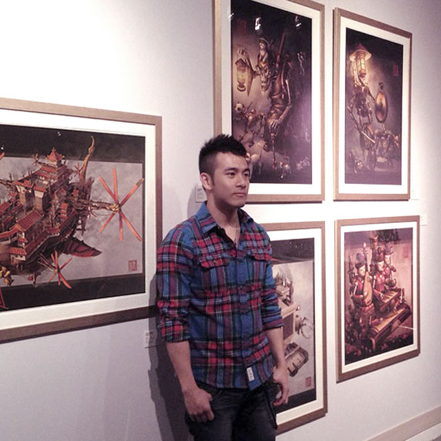Illustrator James Ng at steampunk art exhibition.