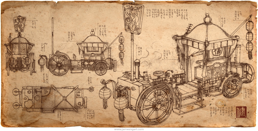 Sketch of Asian steampunk Bridal Carriage blueprint.