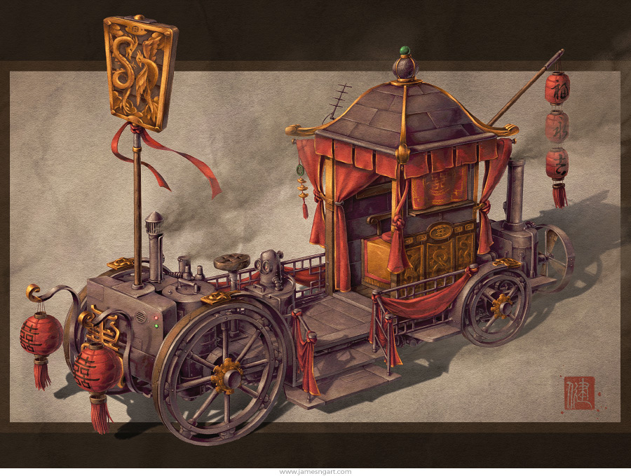 Chinese steampunk Bridal Carriage wedding chariot illustration.