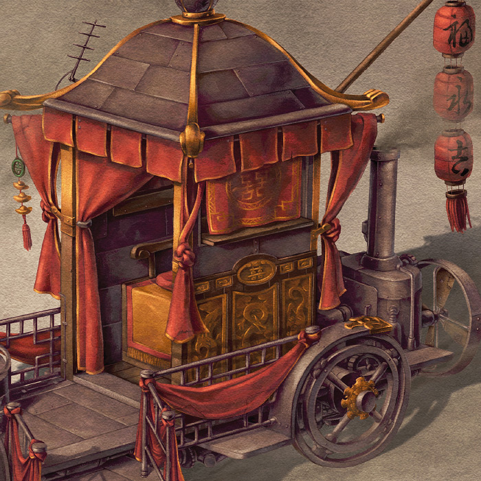 Detail of Chinese steampunk Bridal Carriage.