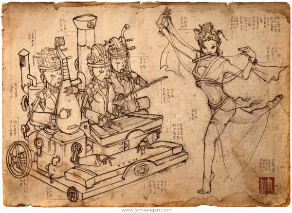 Sketch of Court Band Asian steampunk concept art.