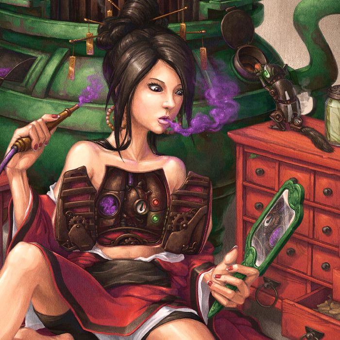 Detail of Crystal Herbalists clockwork lungs and steampunk chipmunk pet illustration.