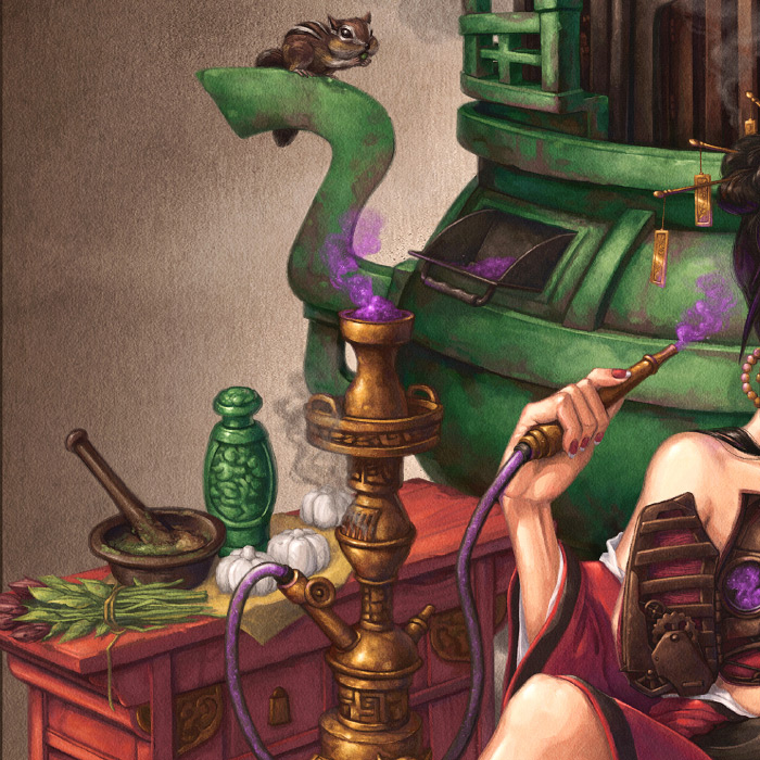 Detail of Crystal Herbalist Chinese steampunk concept art.