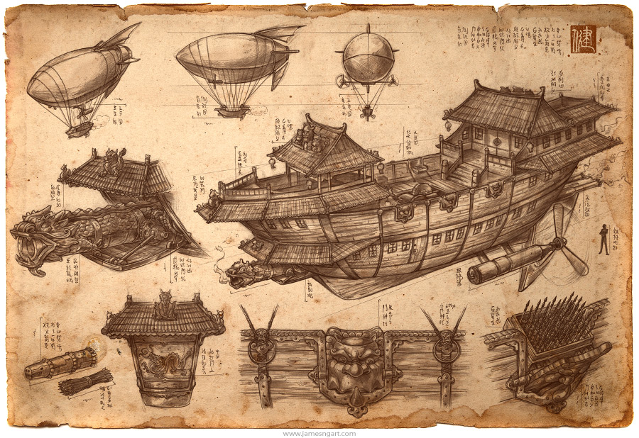 Imperial Convoy Chinese steampunk airship blueprint illustration.