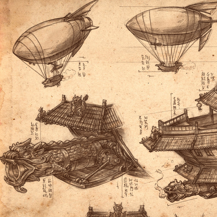 Detail of Imperial Convoy steampunk illustration.