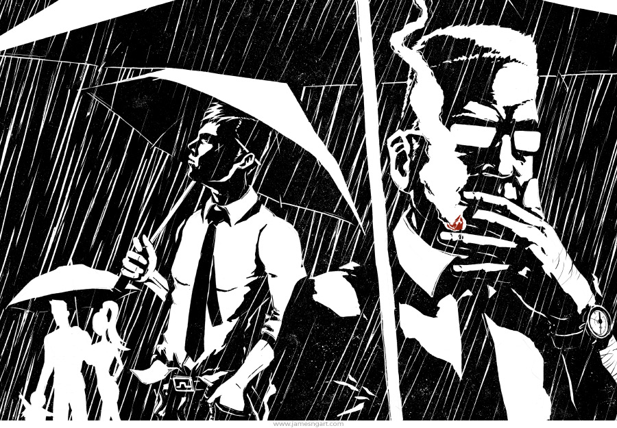 Noir ink illustration for Time Out magazine illustration.