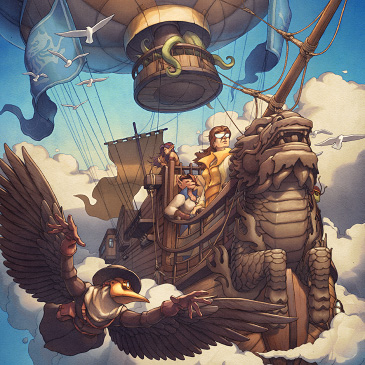 Steampunk dragon airship with an exotic crew.