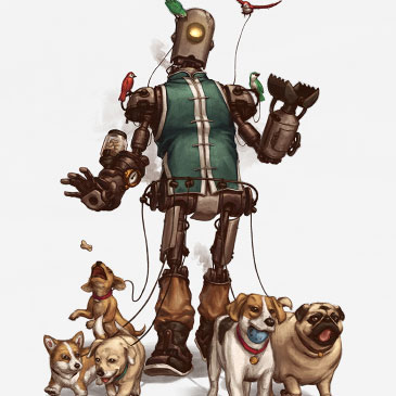 Pet Walker steampunk illustration.